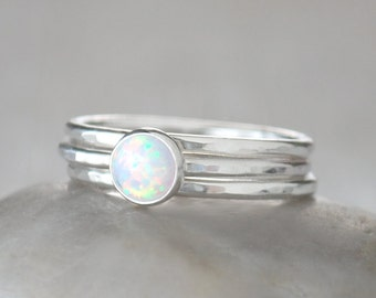 Opal Stacking Ring Set - 6mm Opal Ring in Sterling Silver plus 2 Sterling Stacking Rings - Handcrafted Artisan - Hand Forged Silver