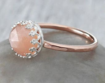 Rose Gold Peach Moonstone Ring in 14k Rose Gold-Filled - Peach Moonstone Stacking Ring - Handcrafted Artisan Rose Gold Ring