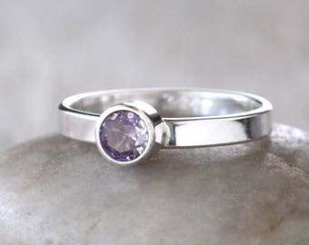 Alexandrite Ring Sterling Silver - Handcrafted Sterling Silver Alexandrite Ring -  Alexandrite stacking Ring - June Birthstone Ring