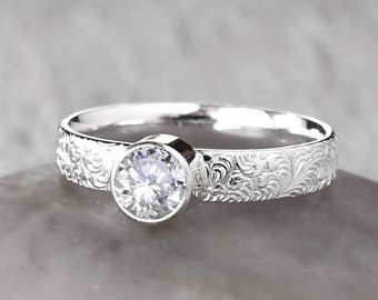 Cubic Zirconia Ring in Sterling Silver - Handcrafted Sterling Silver Cubic Zirconia Ring -  CZ Engagement Ring - April Birthstone Ring