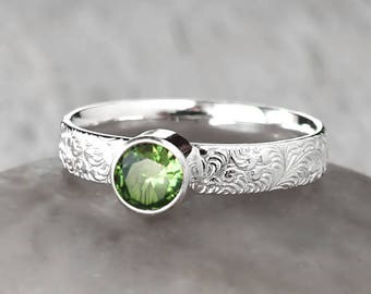 Silver Peridot Ring - Sterling Silver - Handcrafted Artisan Ring - Peridot Birthstone Ring - August Birthstone Ring