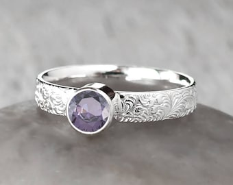 Silver Amethyst Ring - Sterling Silver - Handcrafted Amethyst Birthstone Ring - February Birthstone Ring