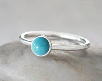 Turquoise Stacking Ring in Sterling Silver - Handcrafted Artisan Silver Ring  - Sterling Silver American Turquoise Ring