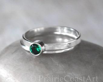 Emerald Ring Set, Sterling Silver Stacking Ring Set - Emerald Stacking Ring  - Sterling May Birthstone Stacking Ring