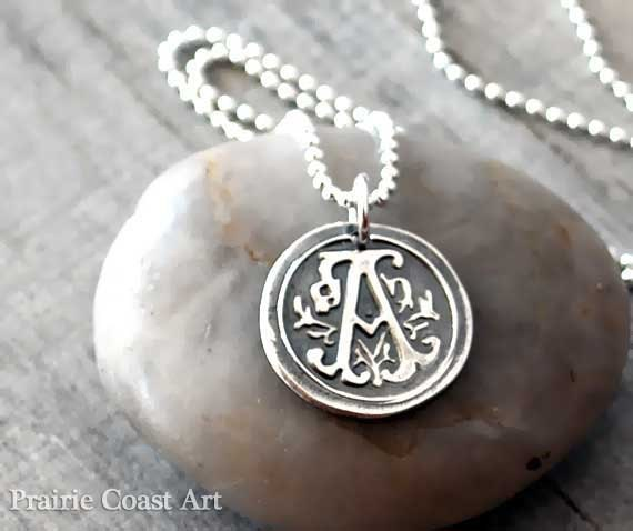 Personalized wax seal initial necklace custom initial mozeypictures Images