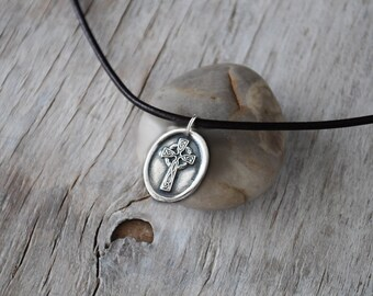 Celtic Cross Necklace - Inspirational Men's Cross Pendant -  Wax Seal Cross with Leather Cord -  Men's Leather Pendant - Eco Friendly Silver