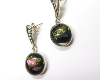 One of a Kind Silver Dichroic Glass Whale Necklace /& Earrings Set