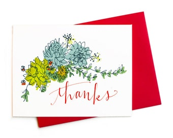 Succulent Bouquet Thank You, Happy Hen and Chicks Thank You Notes