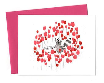 Raccoon in Spring, Raccoon Valentine Thank You Blank Card