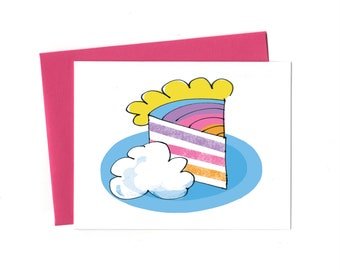 Rainbow Cake with Clouds Birthday Card, Single Birthday Card, Rainbows