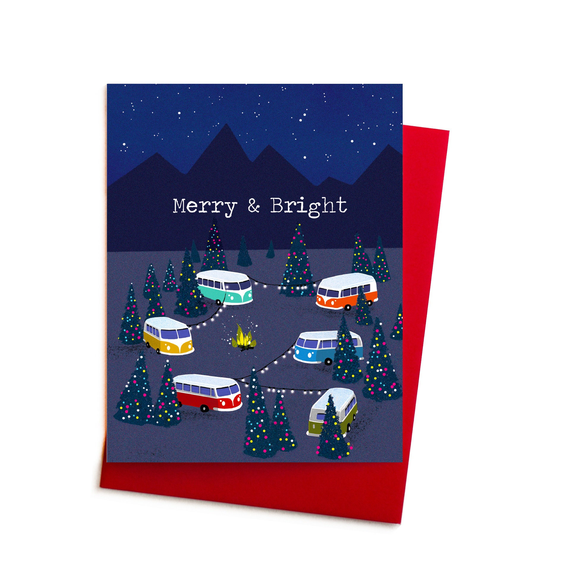 Christmas Card Merry and Bright Holiday Campout Volkswagen | Etsy