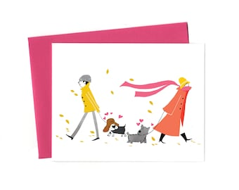 Love at First Sight, Two Dogs Love Greeting Card
