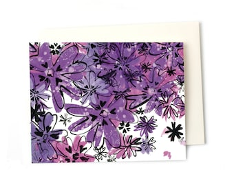 Thank You Cards, Pretty Blank Notes, Purple Phlox Blank Notecard Card Set Perfect for Every Occasion
