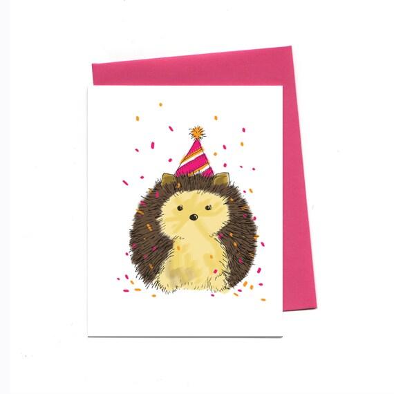Birthday Hedgehog Greeting Card Happy Birthday Celebration Etsy
