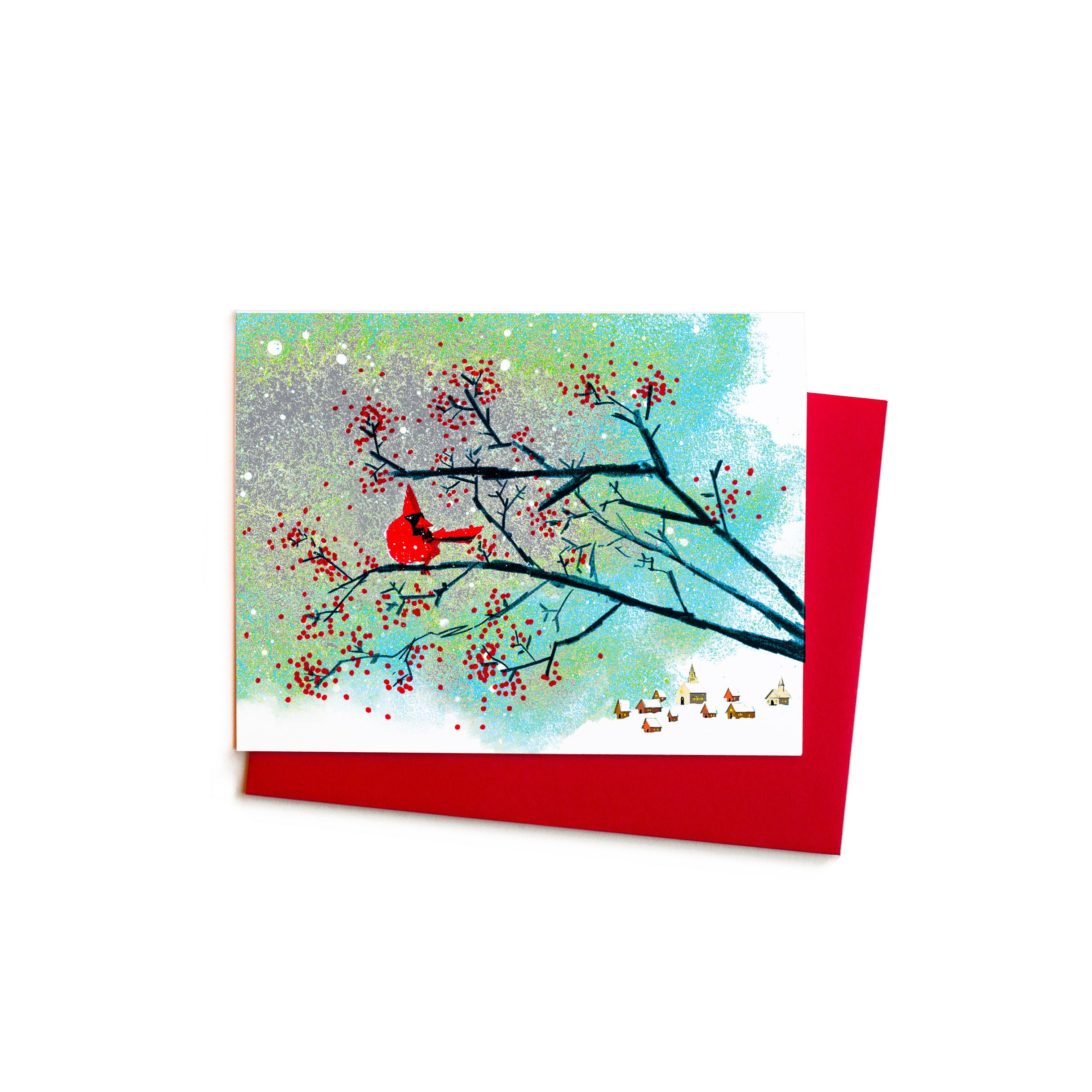 Cardinal and Wild Berries Boxed Greeting Cards Blank Card | Etsy
