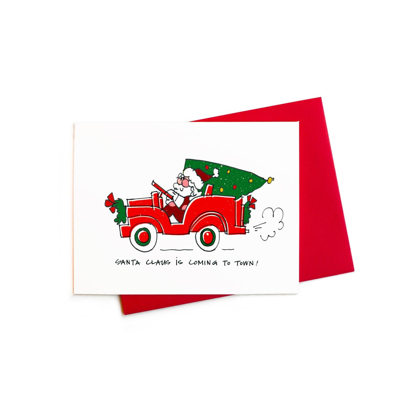 weihnachtskarten mit santa claus kommt in die stadt santa. Black Bedroom Furniture Sets. Home Design Ideas