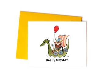 Happy Birthday Viking Single Greeting Card, Children's Birthday Card, Illustrated Kiddos Series