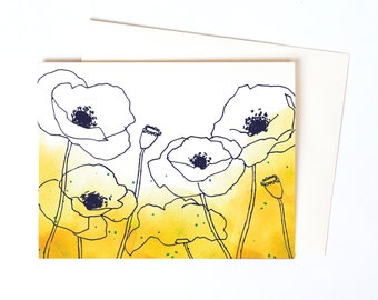 Pretty Thank You Notes, Box Set of Watercolor Poppies Greeting Cards in Curry, Yellow Flowers Blank Note Cards, Sympathy Card