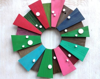 Mid-Century Modern Wreath in Navy, Turquoise, Green, Pink and Blue with White Dots, Rustic Reclaimed Wood Wreath