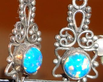 Sterling Silver Opal Earrings with Intricate Ornate Silver Setting