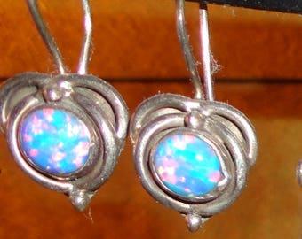 Sterling Silver Opal Short Earrings