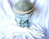 HAT Vintage Vogue Couture Dress Up Costume Retro Designer Quality True Pill Box Blue Straw with Gloves