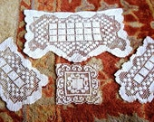 RUNNER Table Dresser SCARF Set Cotton Crocheted Net LACE Doily Chair Set 4