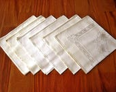 DAMASK Napkins for Tablecloth Replacement Set Vintage Linen 6 Shadow Flowers LG 19 quot