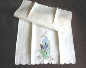 Madeira TOWELS Vintage Embroidered Cutwork Lace Ecru Linen Blue Calla lily Towel