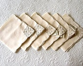 Vintage BUT UNUSED Tablecloth Replacement Napkins Set 6 Embroidered Cut FlowersNEW