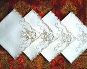 NAPKINS Replacement Tablecloth Napkin Set 4 Embroidered MADEIRA Fine ECRU Linen