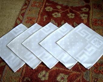 NAPKINS Replacement Tablecloth Napkin Set 5 Vintage Damask SLEEK Linen Fleur  De Lis