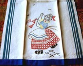 TOWEL Vintage Hand Embroidered WHITE Linen Embroidered Retro Granny ADORABLE