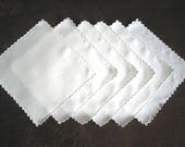 NAPKINS Vintage Replacement Tablecloth Napkin Set 6 White Scalloped LINEN
