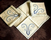 Vintage TABLECLOTH Replacement Napkins Linen Embroidered 11 BLUE Embroidery NWOT