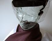 HAT Vintage Dress Up Costume Retro Cap Pill Box Face Net BLACK VELVET Rhinestones Scarf