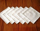 DAMASK Napkins for Tablecloth Replacement Set Vintage 6 White Bouquets of Flowers