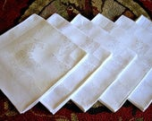 DAMASK Napkins for Tablecloth Replacement Set Vintage Linen 6 Deco Roses