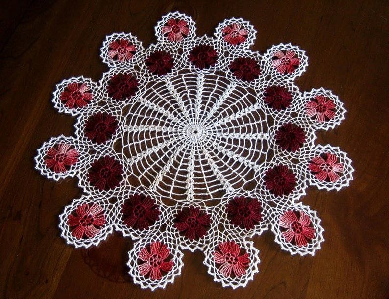Vintage Runner Tablecloth Doily Hand Crocheted Lace Off White Pink Maroon Granny Discs