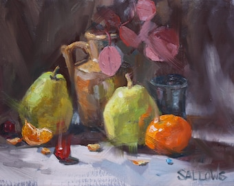 Pears Orange Still Life Art  Painting DFAT 9x12 Oil Painting Framed Alla Prima Sallows