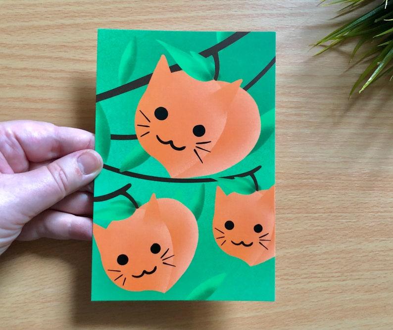 Cat Postcards  Cat Peach Post Cards  Artist plant lady Postcards  Georgia Voter Postcards