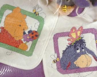 Disney fluttering friends 2 bibs  stamped cross stitch kit