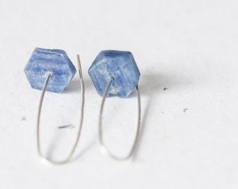 Kyanite Modern Hook Earrings Argentium Sterling Silver Minimalist Jewelry