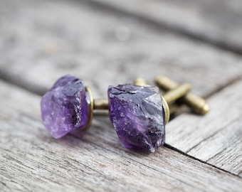 Raw Amethyst Men Cufflinks OOAK rough dark purple tribal cuff links for him groomsmen gift rustic organic design