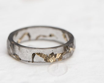 Kintsugi style Black Resin Stacking Ring Gold Foil Flakes Small Faceted Ring OOAK minimalist jewelry minimal chic