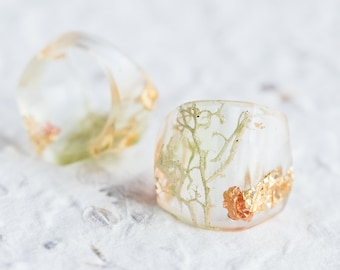 Druid Statement Resin Ring Nature Moss Cocktail Transparent Ring OOAK fairy Broceliande enchanted forest wizard merlin nature inspired