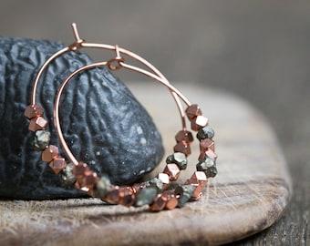 Pyrite Hoop Earrings Rose Gold Brass Modern boho Jewelry rough pyrite hoops minimal chic