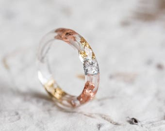 Tricolor Skinny Resin Stacking Ring Gold and Silver Flakes Thin Transparent Ring OOAK rose gold boho minimal chic jewelry