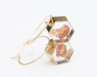 Floating Gold Leaf Hoop Earrings Geometric Hexagon Transparent Resin 14k goldfilled modern earrings OOAK Minimalist Jewelry minimal chic
