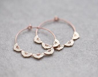Boho Hoop boucles d oreilles Rose or laiton festonné bord cerceaux moderne  bijoux Bohème style 1bcca464dddf
